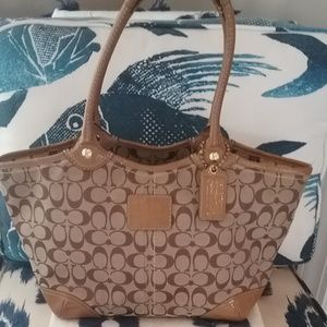 Coach Canvas Handbag with Patent Leather Trim
